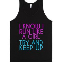 Run Like A Girl-Unisex Black Tank