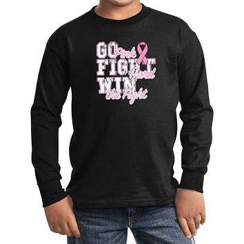 Kids Breast Cancer T-shirt Go Fight Win Youth Long Sleeve