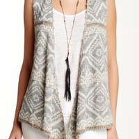 Crocheted Back Knit Vest