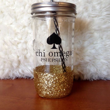 Personalized Sorority Mock Kate Spade Sparkly Mason Jar Tumbler-Chi Omega