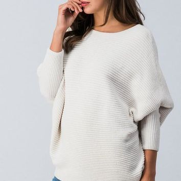 Chunky Knit Dolman Sweater - Off White