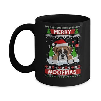 Boxer Merry Woofmas Ugly Christmas Sweater Mug