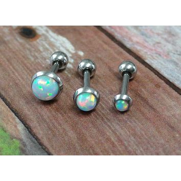 White Fire Opal Stud Cartilage Earring Tragus Helix Piercing You Choose Stone Size