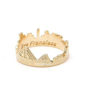 san francisco, san francisco ring, skyline ring, skyline jewelry, state jewelry, adjustable ring, skyline, cityscape ring, cityscape