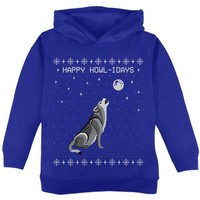 DCCKJY1 Happy Howl-idays Holidays Wolf Ugly Christmas Sweater Toddler Hoodie