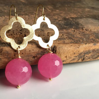 Dangle Earrings, Quatrefoil Earrings, Gold Plated, Cherry Quartz, Etsy, Etsy Jewelry
