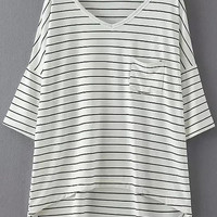 White V Neck Dip Hem Pocket Stripe T-Shirt