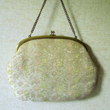 Gold Evening Bag Mad Men handbag clutch bag chain kiss lock gold metallic brocade tapestry fabric vintage 60s glam formal prom purse