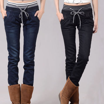 Elastic Cowboy Cotton Pencil Pants Waist Jeans