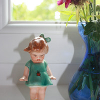 "Vintage    RARE    little girl   figurine   hand  painted  porcelain collectible 1920s 1930s European pottery  5.5"" high"