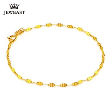 18k Pure Gold Female Bracelets Fine Jewelry Four Clover Gift Girl Thin Trendy Solid 750 Real Bangle Party Good Nice Like True