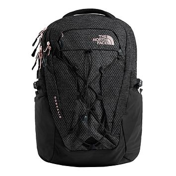 Women's Borealis Backpack in TNF Black Heather & Burnt Coral Metallic by The North Face