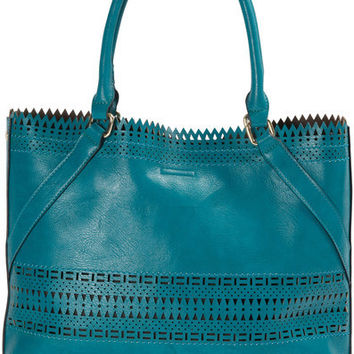 "Olivia Tote in Teal - 17"" x 13"" x 5.25"" Laser Cut Handbag"