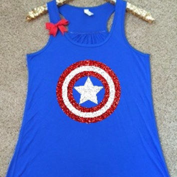 Captain America Tank - Superhero Shirt - Marvel - Ruffles with Love - Glitter - Graphic Shirt