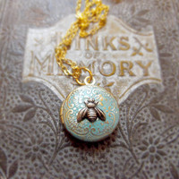 Vintage Turquoise Bee Locket