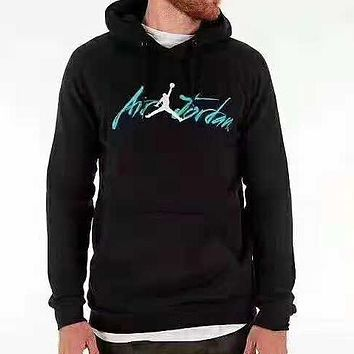 NIKE Jordan New fashion bust embroidery letter pattern thick keep warm hooded long sleeve sweater top Black