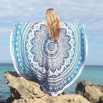 Fashion Women Summer Round Circle Beach Blankets Cover-up Vintage Print Lightweight Tassels Kimino Blouse Tops