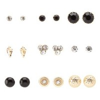 Gold Rhinestone & Button Stud Earrings - 9 Pack by Charlotte Russe