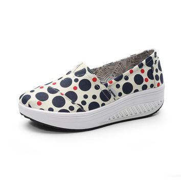 Women Breathable Slim Wedges Sneakers Shoes Women High Heels Swing Toning Shoes