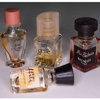 Four Vintage Miniature Crystal Perfume Bottles Paris Fragrances Miss Balmain ECUSSON ma griffe Graffiti CAPUCCI 1960s - 80s French Parisian