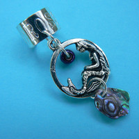 mermaid abalone pendant ear cuff  mermaid  siren abalone in boho gypsy hippie hipster  beach  resort and fantasy style