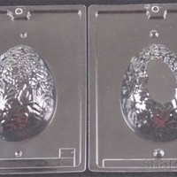 "5 1/2"" Egg 2 Pc Chocolate Mold Set Cybr Trayd 3D E222 Easter Decorative Candy"