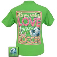 Girlie Girl Preppy All you need is love and soccer T-Shirt