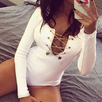 Plus Size ZANZEA Rompers Womens 2019 Slim Fit Playsuits Long Sleeve Tops Jumpsuit Sexy Bodysuit Ladies Lace Up Short Overalls