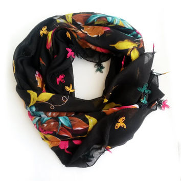 Black floral scarf - Boho scarf Turkish scarf Turkish oya scarf Yemeni scarf Square scarf Gift for mother Mothers day gift Mothers day