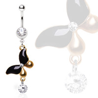 316L Surgical Steel Navel Ring with Antique Gold and Black Butterfly with Gem Dangle