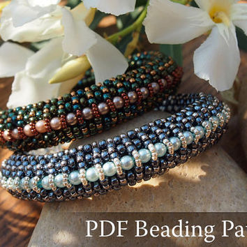 Beading Tutorial Elizabeth Bracelet, Beading pattern with Swarovski Crystal Pearls and japanese seed beads - beaded bracelet pattern, PDF