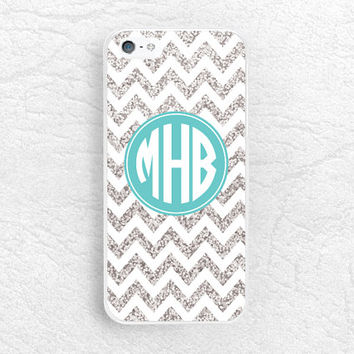 Silver Glitter Chevron Monogram phone case for iPhone, Sony z3 compact, LG g3 g2 Nexus 5, Moto X Moto G, custom case with personalized name