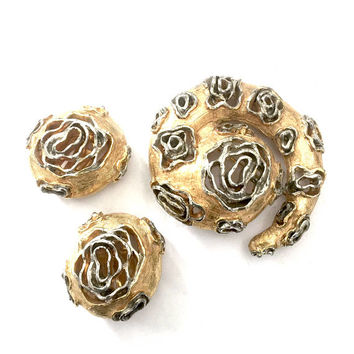 Castlecliff Gold & Silver Tone Demi, Brooch and Earring Set, Silver Tone Highlights, Open Metal Work, Vintage Demi Parure, Designer Signed