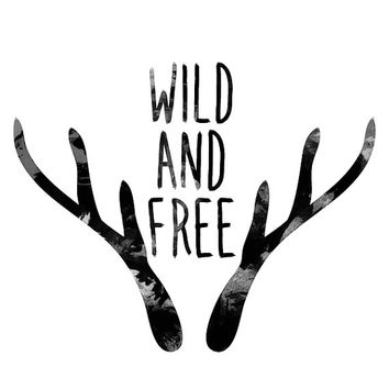 Wild and free - Digital print Antler printable Wild and free design Watercolor print Watercolor art Deer print Typographic print Typography