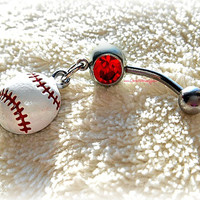 Baseball or softball Belly Ring, Piercing, Athletic, Athlete, Belly button, Navel, Summer, Beach, Ready to Ship