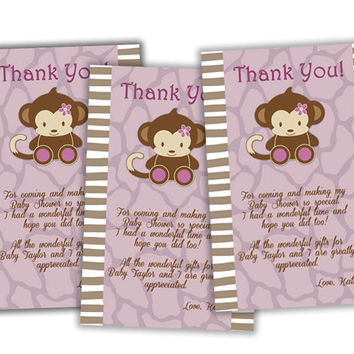 Purple Monkey Baby Shower Thank You Notes - Monkey Thank You Cards - Safari Thank You Tags - Party Favor Bags - Purple Flower Safari Idea