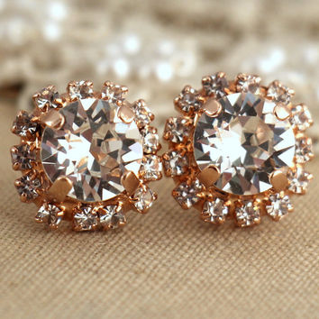 Rose Gold stud white clear crystal Bridal earrings, Bridesmaids earrings, classic elegant wedding jewelry - 18 k Gold plated Swarovski studs