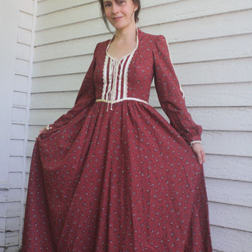 Gunne Sax Dress Red Floral Prairie Full Length Maxi Corset Vintage 70s 7
