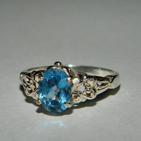 Blue spinel ring sterling silver