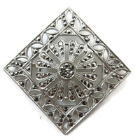 Sterling Marcasite Brooch - Art Deco, Flower, Silver Estate Jewelry