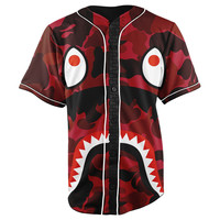 Bape Shark Red Camo Button Up Baseball Jersey