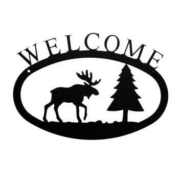 Wrought Iron Small Moose & Pine Welcome Home Sign Small