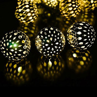 LED SopoTek 10LED 3.25Meters Solar Powered Fairy String Lights Amber Yellow Moroccan Clear Silver Iron Globe Outdoor Lights String for Christmas Wedding Party Garden Lawn Patio Waterproof (10LED Yellow/Warm white Color)