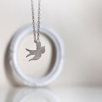 Sterling Silver Swallow Bird Pendant with Sterling Silver Chain- Symbolic Gift under 45