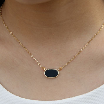 Gold Plated Cute Oval Pendant Necklace