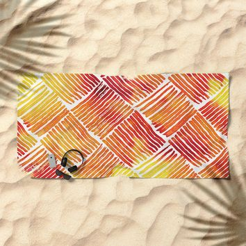 Orange Watercolor Streaks Abstract Pattern Beach Towel by naumovski