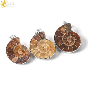 Natural Stone Ammonite Fossils Seashell Snail Pendants Ocean Necklace
