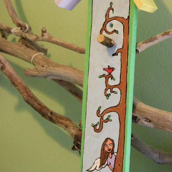 Angel Peeking from Behind a Tree, Birdhouse Sign, Hand Burned, Hand Painted by ReverieLife