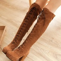 New Yellow Round Toe Chunky Fashion Knee-High Boots