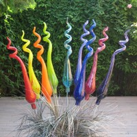 One Hand Blown Glass Garden Art Plant Stake 20 inches by Oberini